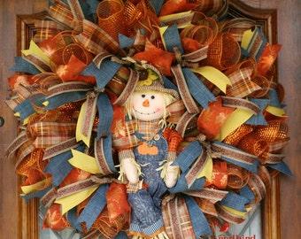 Fall Wreath, Scarecrow Wreath, Fall Decoration, Fall Mesh Wreath, Orange, Blue, Yellow