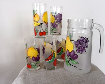 Vintage Made in France Pitcher and 6 Glasses Set, Fruit Design French Juice Pitcher and Glasses 1960s