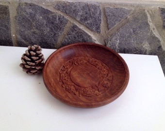 Vintage Hand Carved Wooden  Plate, Old Ornament Decoration For Home, 70s