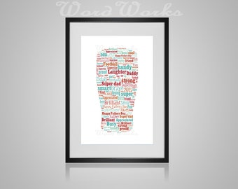 "Personalised Fathers Day ""Beer"" Word Art  **Buy 3 prints get the 4th FREE**  Use coupon code "" MYFREEONE """