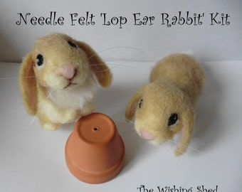 Cute Lop Ear Rabbit / Bunny Needle Felt Kit - beginner/ intermediate - The Wishing Shed - Brown Hare Decoration / Ornament Gift