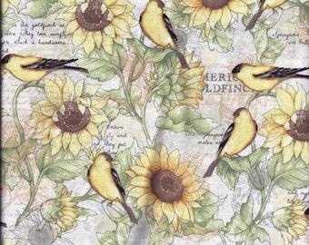 Goldfinch Birds Sunflower Yellow Green Curtain Valance