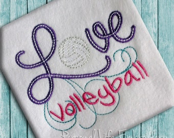 LOVE Volleyball Machine Embroidery Pattern Digital Applique Design INSTANT DOWNLOAD Sports Beach Team Athletic Girl Summer Cheer Olympics