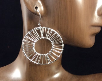 Woven Hoop Earrings, Silver Wire earrings, Statement Earrings, Woven Wire Earrings, Modern Earrings, Geometric Earrings, Large Earrings