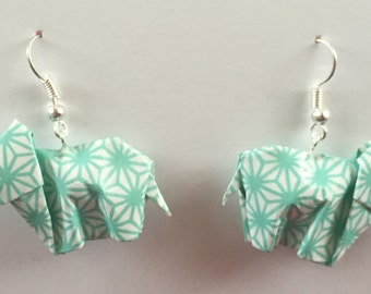 Origami Elephant Earrings | Light Aqua