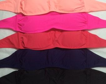 Plain Embroidery Blanks - Bandeau Swim Suit Top (Peach, Pink, Coral, Navy, Black)