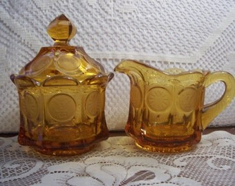Fostoria Amber Coin Glass Covered Sugar Bowl & Creamer
