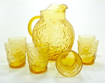 Pitcher Tumbler Glass Yellow Anchor Hocking Milano