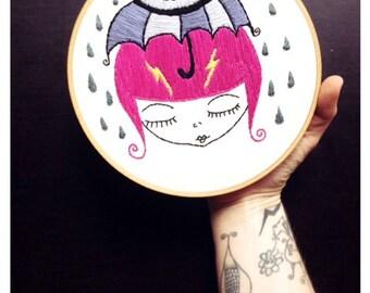 Hand embroidery, hoop art, embroidery art, rainy day, whimsical, umbrella