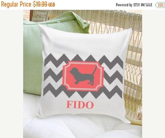 Chevron Print Personalized Dog Throw Pillow - Pet Gifts - Dog Decor (NC)