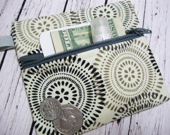 Gray Coin Purse Wallet, Keychain Zipper Coin Purse Pouch Wallet, Keychain Wallet