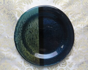 Fused Glass Serving Plate in Iridescent Ultramarine and Cobalt Blue with Black Accents