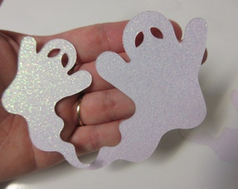 "12-4"" and 3 1/4"" White Glitter Ghost Die Cuts-Halloween Die Cuts"