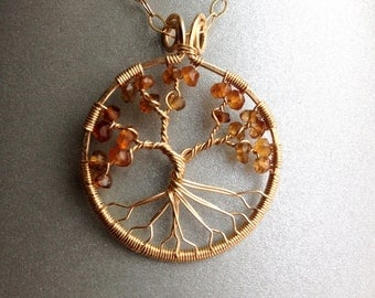 Persimmon Tree of Life on Gold Chain