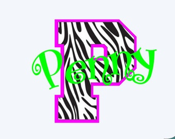 Zebra print Initial with optional name in multiple sizes and your choice of colors - FREE SHIPPING