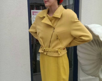 Suzelle vintage 1970 leather skirt and matching jacket mustard Yellow.  womens
