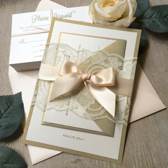 KATHERINE - Lace Wedding Invitation - Gold and Ivory Shimmer Card Stock with Ivory Lace Wrap and Blush Satin Ribbon - Ivory Lace Belly Band