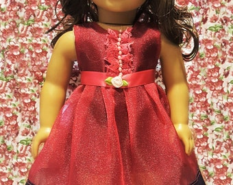For 18 inch American Girl Doll Clothes - Magenta Organza Dress Hand made Ensemble