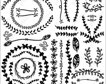 Floral Borders (SVG, PDF) Hand-drawn