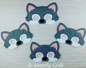 Family Set Wild Husky Wolf Mask Woodland Animal Costume  Dress Up  Fancy Dress  Party Mask  Grey White
