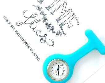 Time Flies, nurse watch, pocket watch, brooch, nurses watch, watch, blue, blauw, kraamhulp, verpleegster, horloge