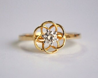Flower Ring. Solitaire Engagement Ring. Dainty Brown Diamond Ring. 14K Rose Gold. Stackable Wedding Band. Bridal Jewelry