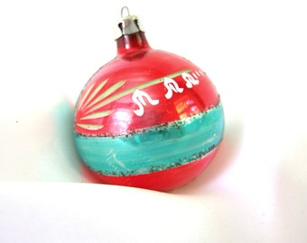Vintage Christmas Ornament, Red and Green Poland Ornament