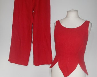 Vintage 80s Trouser Suit Pant suit by Michel Ambers red linen  wide leg trousers pants and top size medium UK 12