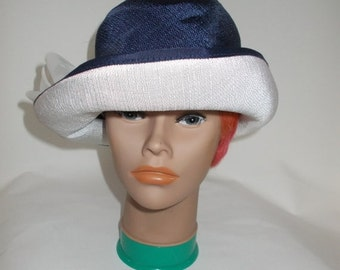 25% Off Summer Sale Vintage hat 50s 60s navy and white cloche hat