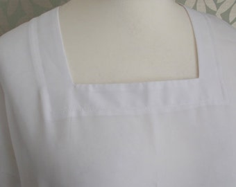 SALE 25% OFF Vintage white top blouse shirt by Foxy Lady square neck top size large