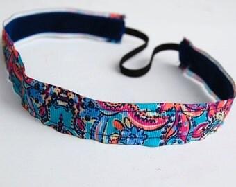 Blue Paisley NO-SLIP Headband // Yoga Headband, Workout Accessories, Gym Headband, Paisley Headband