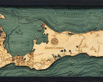 Wood Chart of Grand Cayman, Cayman Islands, 13.5x31 - Medium