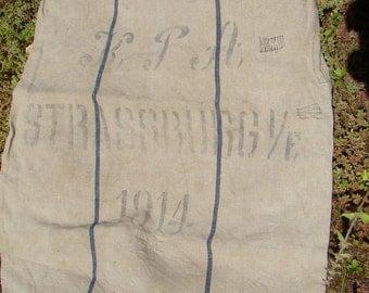 "1914 Antique German Grain Sack ""KPA Strassburg 1914"""