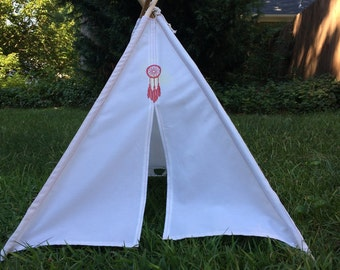 18 inch Doll Tepee with Dreamcatcher, Lizard or Crossed arrows accent