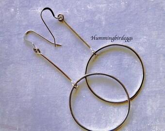 Modern Earrings silver long dangling hoops womens earrings in sterling silver J Lo inspired earrings hoop on bar earrings gift for her