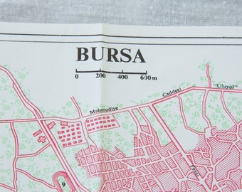 1968 Bursa Turkey Vintage Map