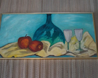 Vintage 1950's - Oil painting of a still life with green bottle and apples in golden frame