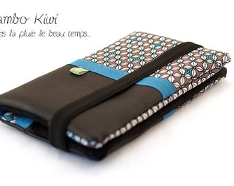 wallet for women in black faux leather, retro fabric with elastic closure