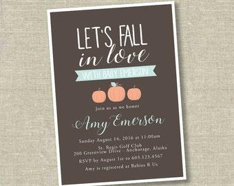 fall in love baby shower, pumpkin baby shower invitation, little pumpkin baby shower invitation, fall baby shower invitation