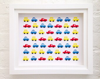 Framed art ~ car gifts ~ 3D wall art ~ unique gifts for new baby boy ~ Winter gift guide ~ Toddler gift ~ boys room decor