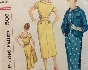 Simplicity 2408 vintage 1950's misses sheath dress & jacket sewing pattern size 14 bust 34
