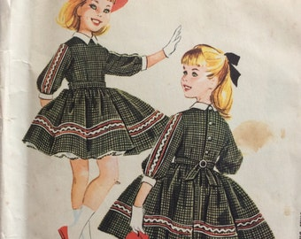 McCall's 5087 girls dress with attached petticoat size 12 bust 30 vintage 1950's sewing pattern  Designed by Helen Lee