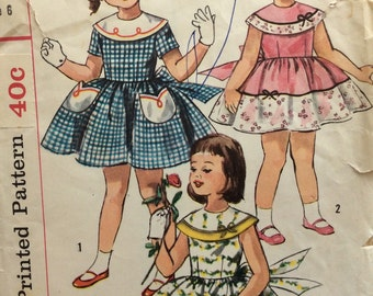 CLEARANCE!!  Simplicity 2017 girls one-piece dress with full skirt size 6 vintage 1950's sewing pattern
