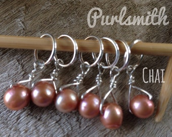 Chai Freshwater Pearl & Sterling Silver Stitch Markers for Knitting,Set of 6,Knitting Notions, Gift for Knitter