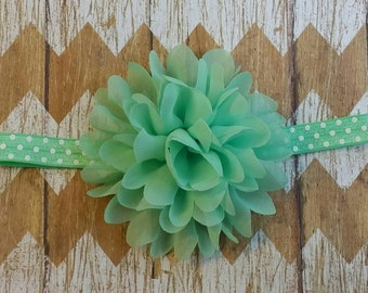 Mint Flower Headband, mint polka dot headband, Mint girls headband, Flower Headband Mint, mint and polka dots headband, flower headband