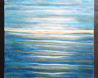 Abstract Ocean Painting, Seascape Blue Abstract, Gallery Wall Art, Modern Artwork, Coastal Decor, Modern Ocean Painting