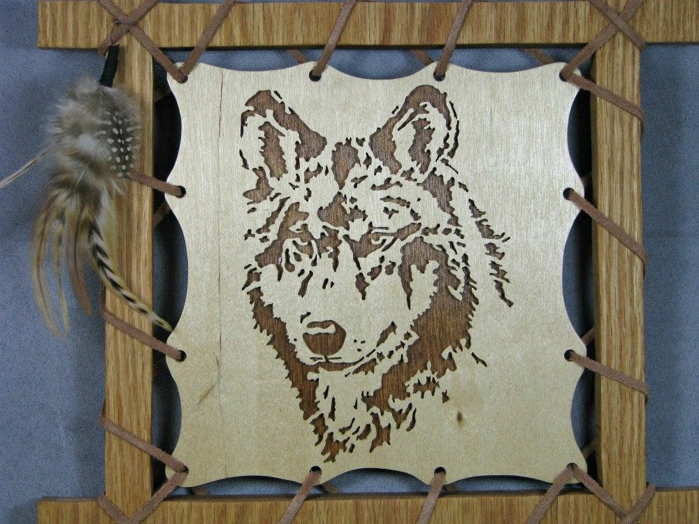 Plaque de loup en brun tenture murale art de loup de mur for Decoration murale loup