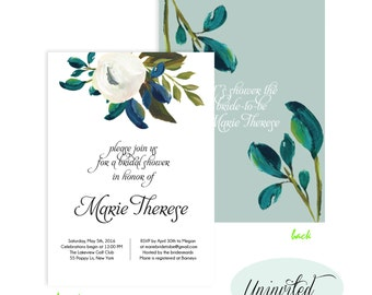 Watercolor Bridal Shower Invitation, Bridal Shower Invite, Wedding Shower Printable