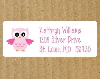 Pink Owl Address Labels, 90 Labels, Owl Return Address Labels, Personalized Address Labels, Girl Address Labels, Baby Girl, Baby Owl Labels