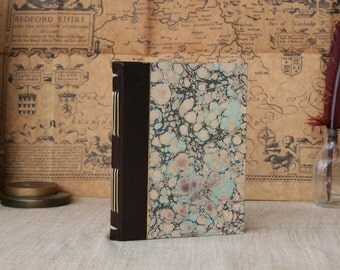 Leather journal, hand-dyed brown leather journal, hardcover notebook, marbled paper journal